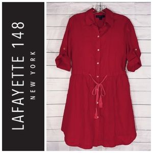 Lafayette 148 Red Linen Button Down Shirt Dress